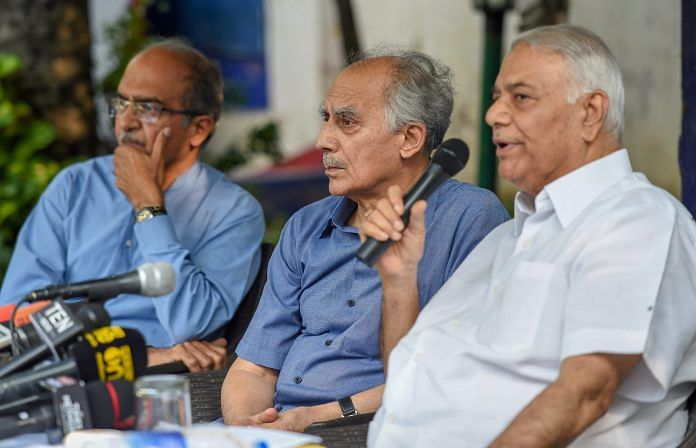 File photo of former union ministers Arun Shourie and Yashwant Sinha with lawyer Prashant Bhushan   PTI