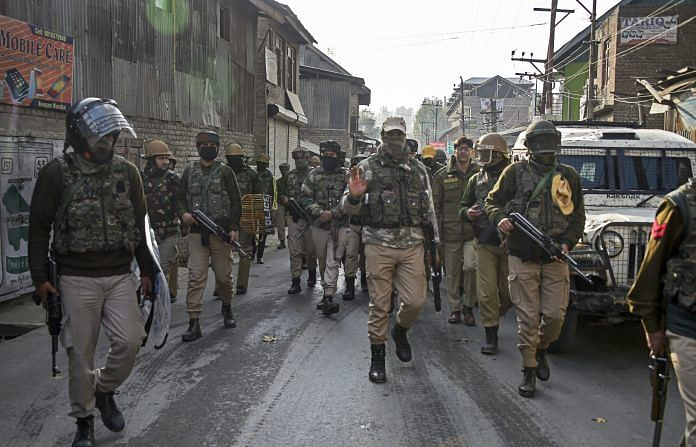 Security personnel leave after an encounter with militants on the outskirts of Srinagar | S Irfan/PTI