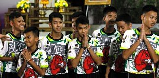 The rescued boys at a press conference after their rescue in July | commons