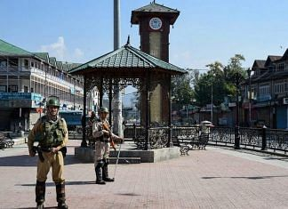 Security personnel guard at Lal Chowk in Srinagar | S Irfan/PTI