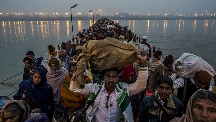Pilgrims during the Maha Kumbh Mela in Allahabad