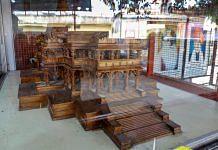 A wooden model of the proposed Ram Mandir in a glass encasement, at the Ram Janmabhomi Nyas-run workshop at Karsevakpuram in Ayodhya | PTI file photo