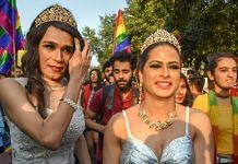 Members and supporters of the LGBT (lesbians, gays, bisexual and transgender) groups during Delhi's Queer Pride march