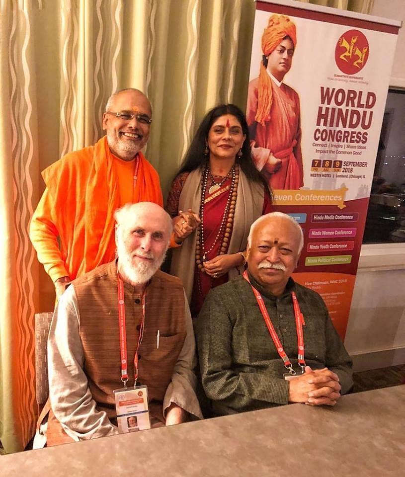 David Frawley with Mohan Bhagwat at the World Hindu Congress, 2018 | drdavidfrawley/Facebook