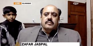 Pakistani academic Zafar Nawaz Jaspal in a TV interview with Al Jazeera | Twitter