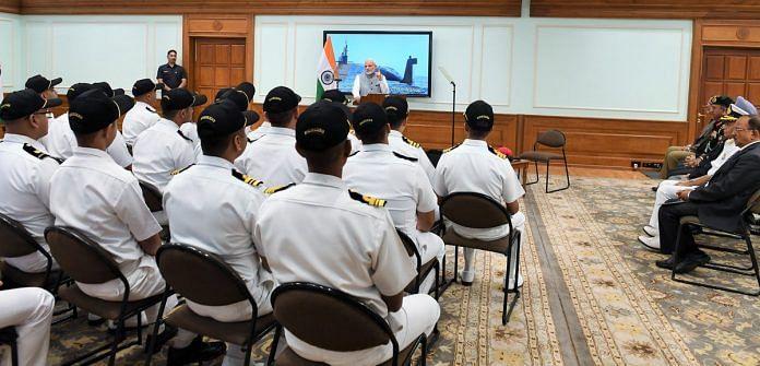 PM Modi addressing the INS Arihant crew | @narendramodi/Twitter