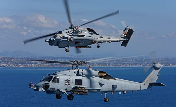 A pair of US Navy Sikorsky MH-60R Seahawks. Sikorsky was later acquired by Lokheed Martin | Lockheedmartin.com