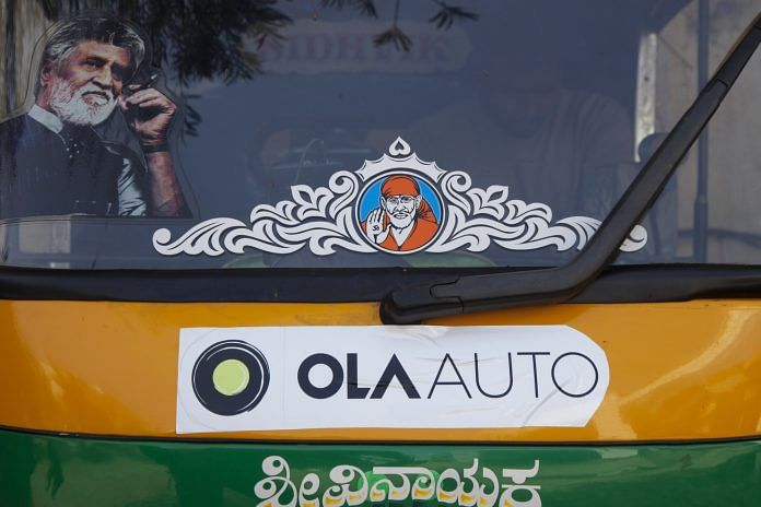 Promotional stickers for ride-hailing service Ola
