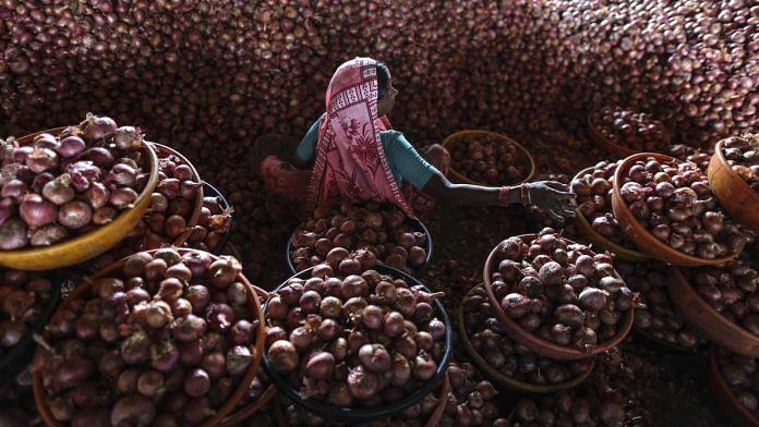 An onion storehouse in Lasalgaon | Dhiraj Singh/Bloomberg