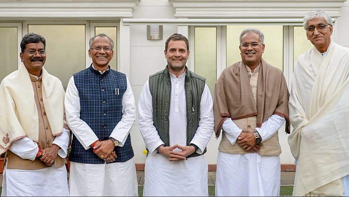 Congress President Rahul Gandhi with senior leaders of the party's Chhattisgarh unit | PTI