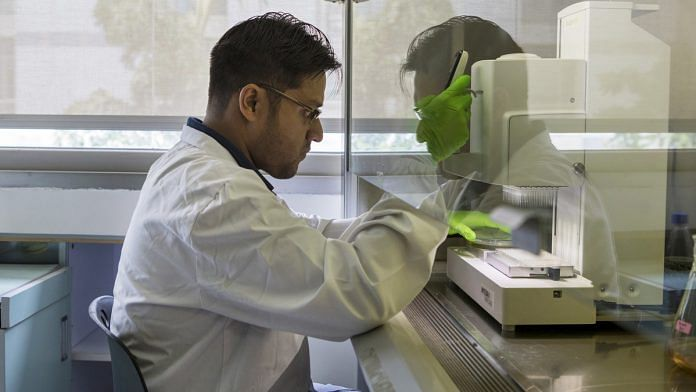 A scientist at work in a research lab in Bengaluru | Samyukta Lakshmi/Bloomberg