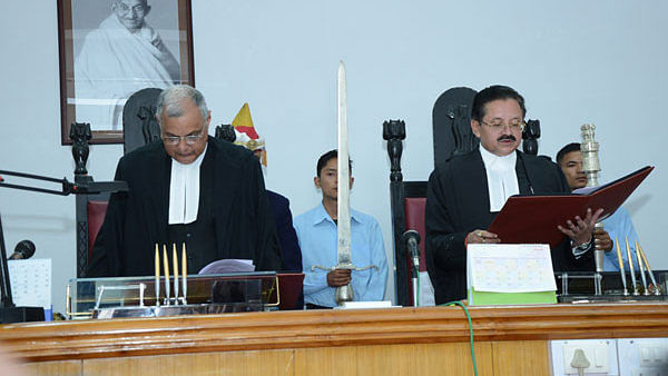 Justice P.C. Pant (L) chief justice of Meghalaya High Court, with Justice S.R. Sen (R) | megipr.gov.in
