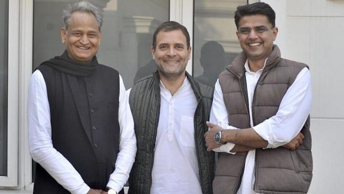 Congress chief Rahul Gandhi with Ashok Gehlot and Sachin Pilot