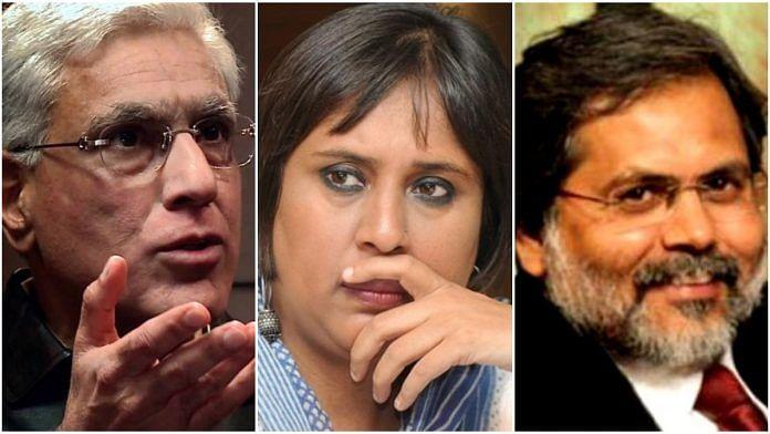 Karan Thapar, Barkha Dutt and Prasun Bajpai | ThePrint.in