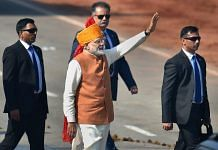 Prime Minister Narendra Modi waves at the crowd after attending the 70th Republic Day celebrations at Rajpath, in New Delhi |Kamal Kishore/PTI