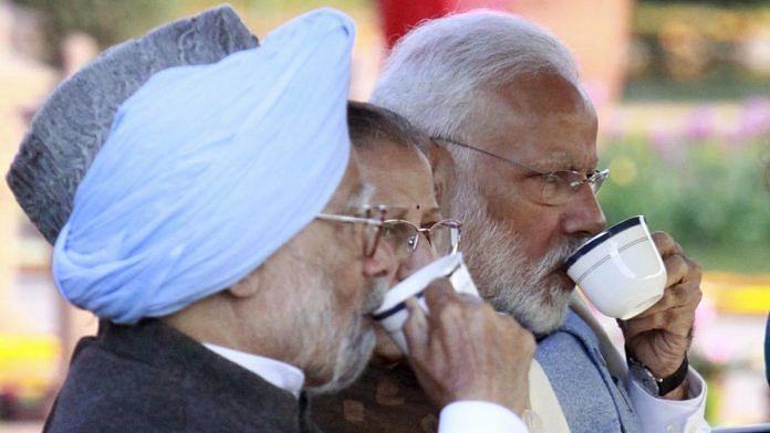 Former prime minister Manmohan Singh, Lok Sabha Speaker Sumitra Mahajan and Prime Minster Narendra Modi at tea time during the At Home reception at Rashtrapati Bhawan | Praveen Jain/ThePrint
