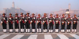 The women contingent of Assam rifles during the Republic Day parade rehearsal