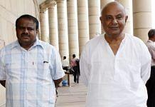 File photo of H.D. Deve Gowda with son Kumaraswamy