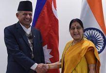 External Affairs Minister Sushma Swaraj greets her Nepali counterpart Pradeep Kumar Gyawali, in New Delhi | Atul Yadav/PTI