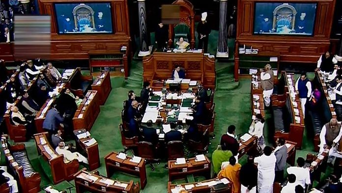 A view of the Lok Sabha during Winter Session of Parliament