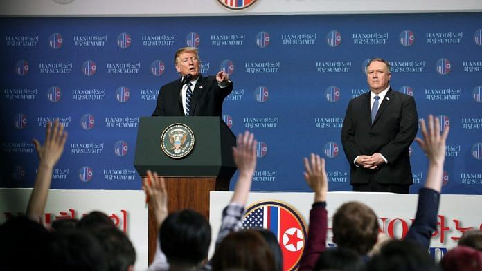 U.S. President Donald Trump takes a question during a news conference following the DPRK-USA Hanoi Summit in Hanoi on