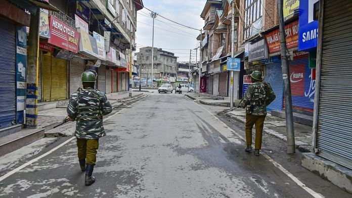 File photo of security personnel patrolling a street in Srinagar | S Irfan/PTI