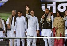Congress president Rahul Gandhi with newly elected CMs, Kamal Nath, Ashok Gehlot, Bhupesh Baghel and other leaders in Gandhi Maidan | PTI