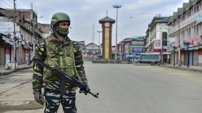 A security personnel stand guard near Lal Chowk in Srinagar (representational image) | S Irfan/PTI