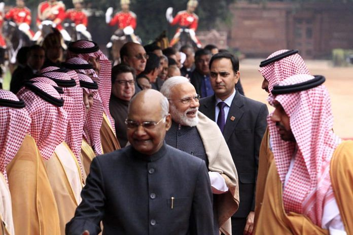 File photo | President Ram Nath Kovind greets the Saudi delegation while PM Modi and Mohammed bin Salman smile at each other | Praveen Jain/ThePrint