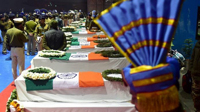 Mortal remains of CRPF jawans who lost their lives in Pulwama terror attack