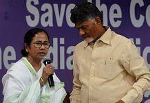 Chandrababu Naidu shares the stage with Banerjee at the dharna | Ashok Nath Dey/ThePrint