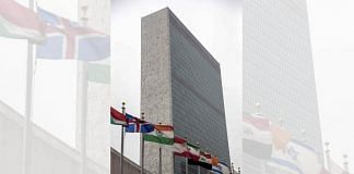 Flags outside the Secretariat building at the United Nations (UN) headquarters in New York