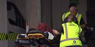A victim arriving at a hospital following the mosque shooting in Christchurch   Tv New Zealand/AFP/Getty Images
