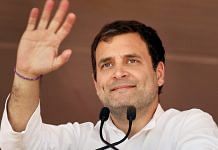 Congress President Rahul Gandhi addresses a public meeting at Municipal Council Ground in Haveri