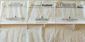 Local newspapers in Jammu and Kashmir with blank front pages