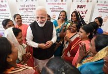 File photo of PM Narendra Modi at the National Women Livelihood Meet 2019, Uttar Pradesh | PTI