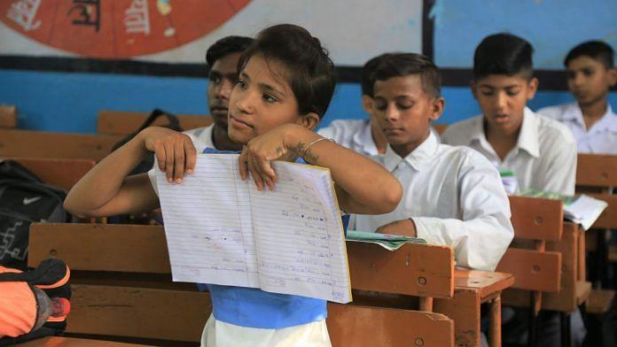 Students at a government school in Vikram Nagar, New Delhi