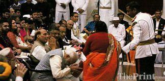 Prime Minister Narendra Modi greets Bihar MLA Bhagirathi Devi during Padma awards at Rashtrapati Bhavan | Photo: Praveen Jain | ThePrint