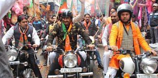 Manoj Tiwari during the BJP bike rally