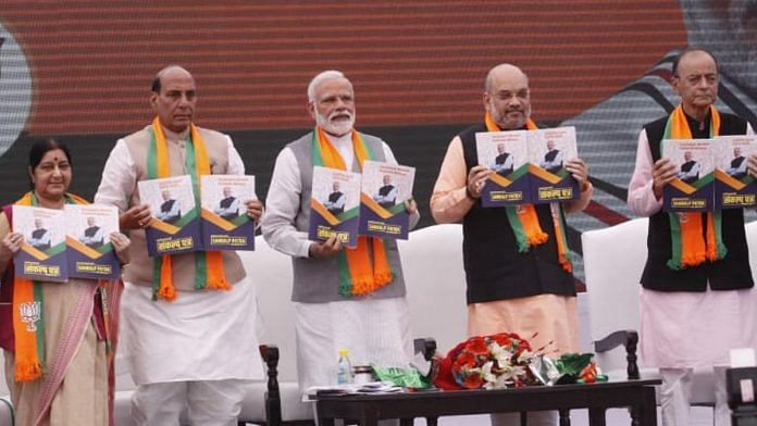 PM Narendra Modi (centre) with Union ministers Sushma Swaraj, Rajnath Singh, BJP president Amit Shah and finance minister Arun Jaitley at the launch of the party's manifesto in New Delhi on Monday | Praveen Jain| ThePrint