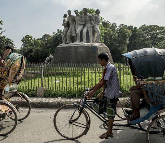 The Anti Terrorism Raju Memorial Sculpture at the TSC circle of the University of Dhaka | Ismail Ferdous/Bloomberg