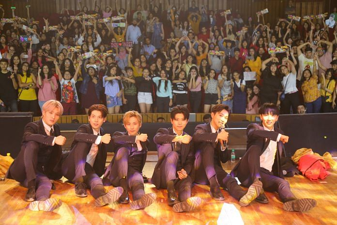 Kpop group IN2IT performance in India