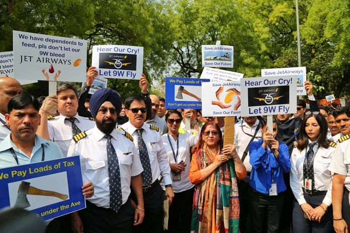 Jet Airways Employees Protest At Jantar Mantar at New Delhi