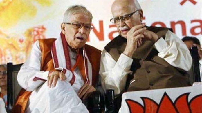 File image of veteran BJP leaders Murli Manohar Joshi (left) and L.K. Advani   Photo: PTI