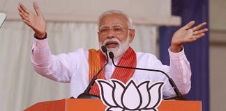 Prime Minister Narendra Modi addressing an election rally in Patan district of Gujarat | PTI