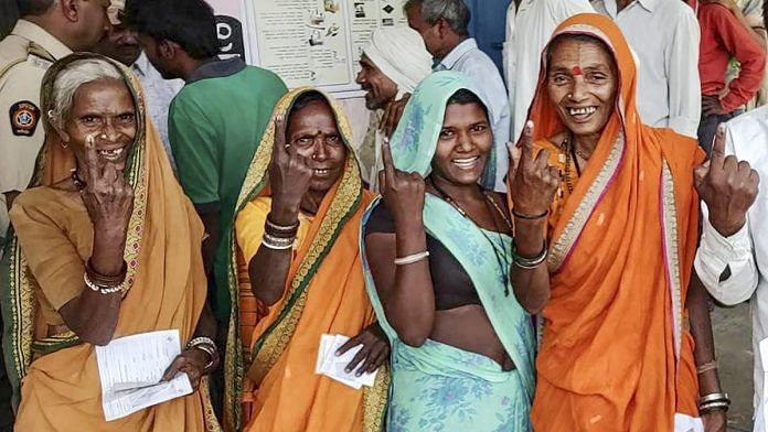 Women cast their votes at a polling station in Nashik, | PTI