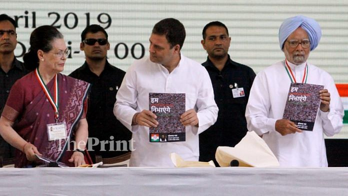 L-R: UPA chairperson Sonia Gandhi, Congress president Rahul Gandhi, Congress leader Manmohan Singh at the manifesto launch | Praveen Jain/ThePrint