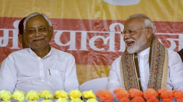 PM Narendra Modi and Bihar Chief Minister Nitish Kumar during the last phase of the Lok Sabha polls, at Paliganj in Patna