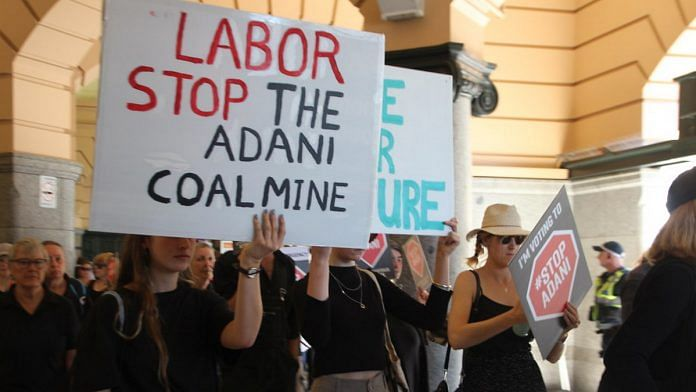 People protesters against Carmichael coal mine which is developed by Adani