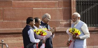 Prime Minister Narendra Modi is welcomed by Ajit Doval, Nirpendra Misra, and PK Misra at the Prime Minister office   Praveen Jain   ThePrint